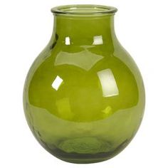 Add a splash of citrus to your living room or bedroom with this spring-ready vase.Product: Vase    Construction Material: Recycled glass    Color: Green     Features: Beautiful design   Earth-friendly accent               Dimensions: 13 H x 13.5 Diameter