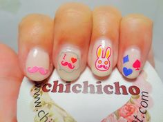 Pink Bunny Mustache Silhouette Decal Nails | chichicho~ nail art addicts