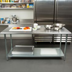Steelton x 18 Gauge 430 Stainless Steel Work Table with Undershelf and Rear Upturn Stainless Steel Work Table, Stainless Steel Island, Commercial Kitchen Design, Commercial Kitchen Equipment, Restaurant Kitchen Design, Industrial Kitchen Design, Industrial Kitchens, Kitchen Island Table, Country Kitchen