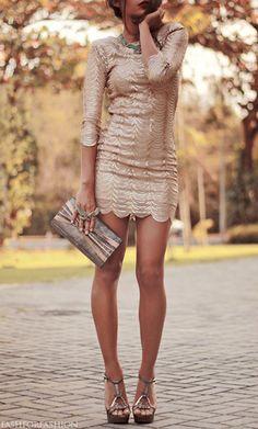 Long sleeve, mini, metallic