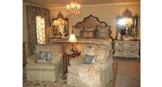 Master Bedroom Suite: Notice the Headboard, Mirrors, Draperies, Bedding