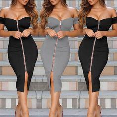 Sexy Women Off Shoulder Zipper Front Midi Dress