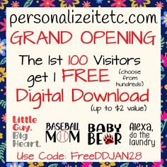 personalizeitetc.com is now OPEN! Every week we are offering a free SVG (dxf, jpg) to the 1st 100. Don't miss out on getting your code...Join Our Mailing List. New designs added regularly!