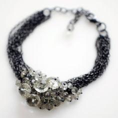 Green Amethyst Encrusted Multi-strand Bracelet, oxidised silver £148 #katewoodjewellery #jewellery #bracelet