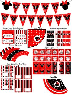 Instant Download Minnie Mouse Red Party Package Birthday - YOU PRINT non-editable PDF files Printable Party Pack
