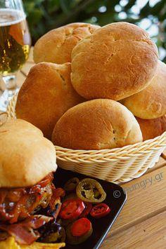 Ψωμάκια για Μπέργκερ Burger Buns, Hamburger, Food Processor Recipes, Sandwiches, Cooking Recipes, Bread, Chef Recipes, Brot, Baking