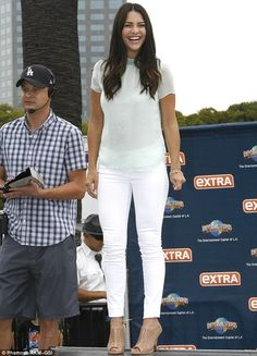 Jubilant: Bachelorette's Andi Dorfman smiled as she showed off her thin pins on the set of...