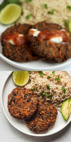 These black bean patties are so easy and delicious! theyre spiced with chili powder which makes them perfect paired with rice sour cream and salsa veggiepatties beanburger vegetarian creamy garlic tuscan shrimp High Protein Vegetarian Recipes, Low Carb Vegetarian Recipes, Easy Healthy Recipes, One Dish Vegetarian Meals, Protein For Vegetarians, Healthy Black Bean Recipes, Vegan Zucchini Recipes, Vegetarian Chili Crock Pot, Healthy Snacks