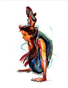 "Yoga Art -- Acrylic Painting, ""Leg High"""