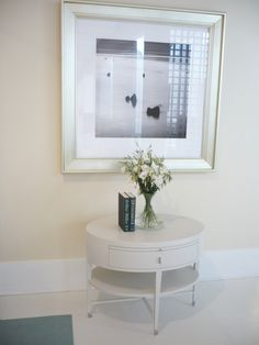 INSPIRATION // 56029 // Rosenau Oval Side Table Farbé Finish Polished Stainless Steel Pulls and Casters White Interior, Side Table, Table, Inspiration, Furniture, Interior, Home Decor
