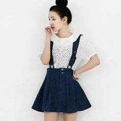 Buy 'lovemark – Pleated Denim Skirt with Suspenders' at YesStyle.com plus more South Korea items and get Free International Shipping on qualifying orders.