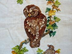 Vintage Completed Cross Stitch on Linen - OWL and BIRDS - 19 inches wide X 32 high