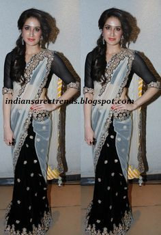 And designer sarees black and white designer half and half saree
