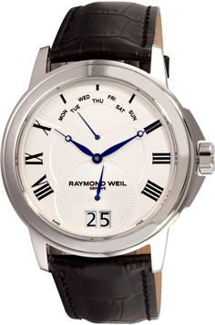 Raymond Weil Men's 9577-STC-00650 Tradition Stainless Steel Case Black Leather Strap with Crocodile Pattern Watch #luxurywatch #raymondweil Raymond-Weil. Swiss Luxury Watchmakers watches #horlogerie @calibrelondon