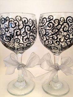 Handpainted Wine Glass Beautiful Black pattern by Brusheswithaview, $40.00