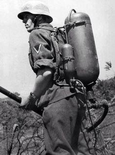 German Flamenwerfer operator.(Flamethrower). Very dangerous mission.