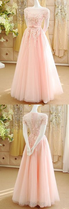 Princess Pink Prom Dresses,Scoop Neck Pink Women Formal Evening Gowns,Tulle Appliques Lace Girls Party Dress,Short Sleeve Prom Dress
