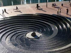 Spiral Water Feature at Darling Harbour in Sydney by Robert Woodward. Lived it here, you can walk down through the water. Landscape Elements, Landscape Architecture Design, Urban Landscape, Landscape Architects, Darling Harbour, Water Element, Art Sculpture, Urban Furniture, Outdoor Landscaping