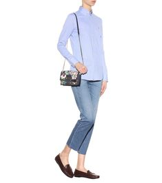 Cotton shirt (Polo Ralph Lauren),Cropped jeans (AG Jeans),Leather moccasin loafers (Tod's),Denim shoulder bag (Roger Vivier)