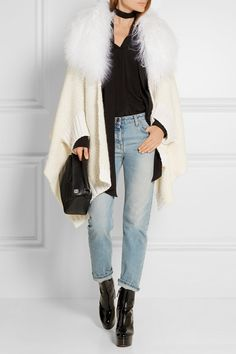 Cream and ivory wool-blend, white shearling Concealed snap fastening at front wool, cashmere, polyamide, mohair; trim: shearling (Lamb) Hand wash Made in Italy Shearling Vest, Fendi Bags, Italian Fashion, Lightweight Jacket, Wool Blend, Mom Jeans, Ready To Wear, Autumn Fashion, Cashmere