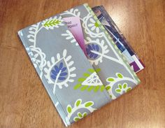 gray white purple and green tract and magazine holder organizer tablet sleeve