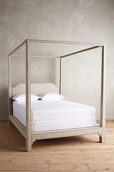 Nailhead Linen Bed - anthropologie.com
