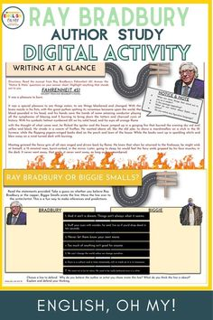 Ray Bradbury Author Adventures is an exciting ELA lesson to hellp introduce your middle school ELA students to Ray Bradbury, his life and his writing. This fun activity and middle school lesson idea includes reading comprehesnion activities, fact activity, line, analysis, and other reading skills activities. | Middle School English Language Arts Lessons | Middle School English Teachers | Middle School English Ideas | Reading Comprehension Ideas