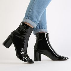 Siena Block Heel Ankle Boots in Black Patent