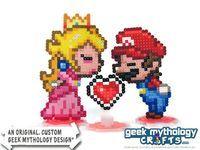 Super Mario princesa Peach besando Perler por GeekMythologyCrafts, $22.00