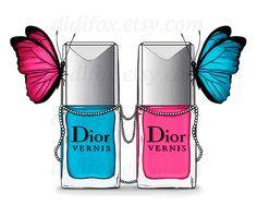 Dior nail laquers polish  butterflies  Printable от DidiFox, $4.50