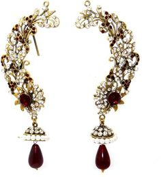 MKJewellers Peacock Ear Cuffs 6947 Brass Cuff Earring