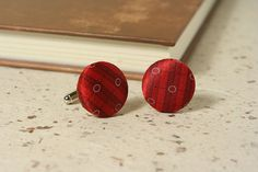 RED SILK CUFFLINKS  cherry red stripes; made from a vintage upcycled men's necktie by SeaOfPossibilities @ www.seaofpossibilities.com