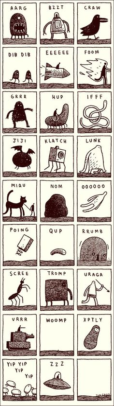 Noisy Alphabet by Tom Gauld, cabanonpress #Illustration #Alphabet #Phonics:
