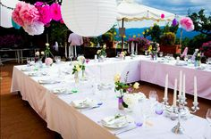 #Tischdeko #Hochzeitsfeier by fasheria.com.#wedding #deko #hochzeit #hochzeitsdeko #diy #italien #toskana #hochzeitfeiern #pompoms #gastgeschenk #hochzeitskleider #weddingdress