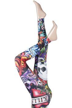 SILKY BLAZE TATTOO PRINT DESIGN EVERYDAY LEGGINGS    £10.99