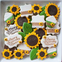 Sunflower cookies - Kookie Kreations by Kim First Birthday Cookies, 1st Birthday Themes, 1st Birthday Girls, First Birthday Parties, Birthday Ideas, 50th Party, Sunflower Birthday Parties, Sunflower Party, Sunflower Baby Showers