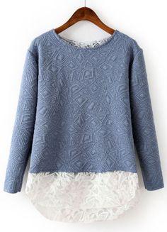 Blue Contrast Lace Geometric Pattern Sweatshirt GBP£15.84