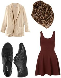 Wet Seal oxfords worn with a burgundy dress, cream-colored cardigan and leopard scarf