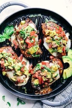This chicken marinates in an amazing honey garlic balsamic sauce and is grilled to perfection! Topped with melty cheese and avocado, tomato and basil.