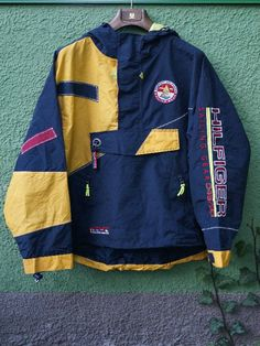 Now that's what I call vintage aesthetic bro. // Vintage Tommy Hilfiger Sailing Gear 45/88 Reflective Rare Mens Jacket Size - XL