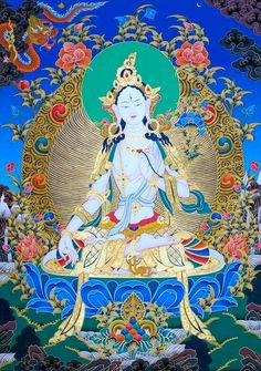 Tibetan Buddhist Thangka of White Tara (long-life goddess) Buddhist Meditation, Buddha Buddhism, Buddha Art, Tibetan Buddhism, Meditation Space, Vajrayana Buddhism, Thangka Painting, Tibetan Art, Hindu Art