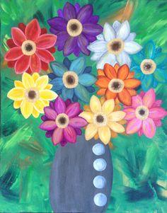 Kerri Ambrosino Art NEEDLEPOINT Mexican Folk Art Flowers Vase Gerber Daisy