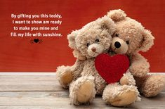 By gifting this teddy i want to show am ready to make you mine and fill my my life with sunshine. Happy Teddy Day! Happy Teddy Bear Day, Teddy Day, Cute Teddy Bears, Teddy Bear Online, Chocolate Basket, Online Gifts, Valentine Day Gifts, Make It Yourself, Fill