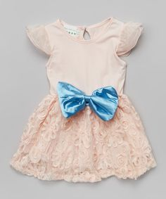 Another great find on #zulily! Peach & Blue Lace Angel-Sleeve Dress - Infant, Toddler & Girls by Ruffles by Tutu AND Lulu #zulilyfinds $19.99