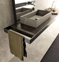 Stunning box sink and towel rack www.remodelworks.com Micoley's picks for #luxuriousBathrooms www.Micoley.com