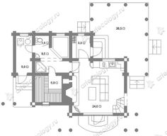 План 1 этажа  - 1 floor