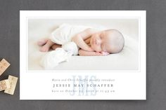 Classic Monogram Birth Announcement Petite Cards by Fig and Cotton Paperie at minted.com