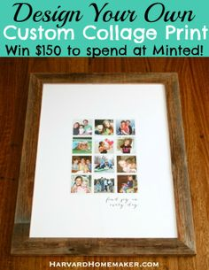 GIVEAWAY! Win $150 (!) to spend at Minted where I ordered this fun custom collage! (they also have beautiful holiday cards, stationery, gifts, wall art, etc.) Expires Sunday 3/30/14 at 11:59 pm PT. Super easy to enter! Maybe you will be the lucky winner!! #giveaway #win #free #minted #holidaycards #wallart #harvardhomemaker