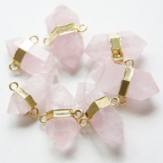 One Piece Natural Hand Cut Raw Brass Framed Rose Quartz Double Points Link (10)
