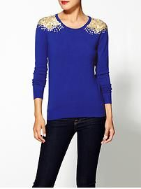 THML Clothing Embellished Shoulder Pullover --> this is totally DIY-able